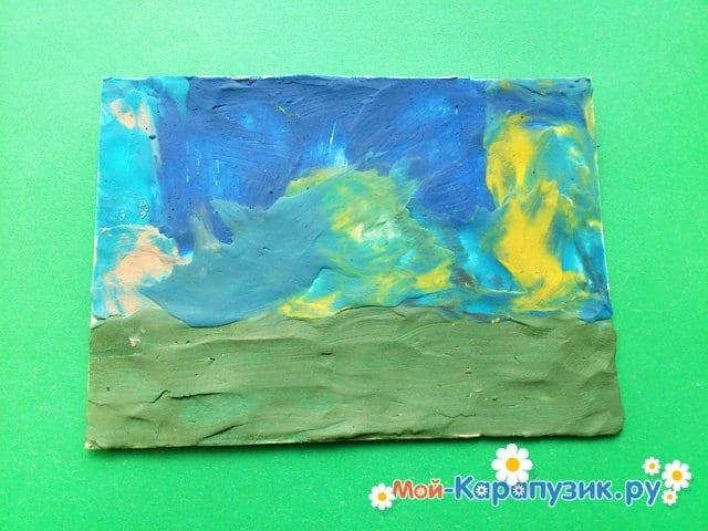 Лепка вулкана из пластилина - фото 3
