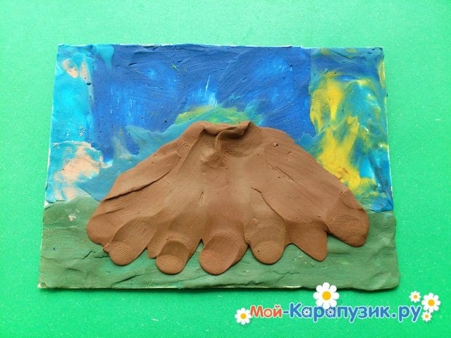 Лепка вулкана из пластилина - фото 6