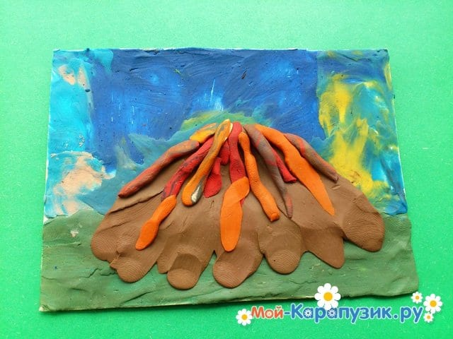 Лепка вулкана из пластилина - фото 7