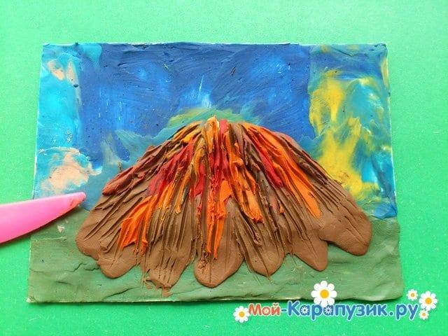 Лепка вулкана из пластилина - фото 8