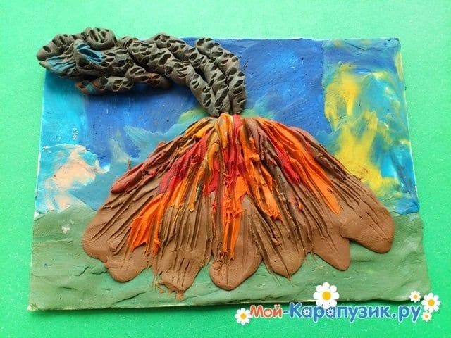Лепка вулкана из пластилина - фото 9