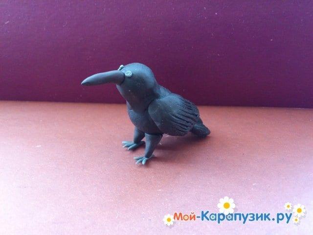 Лепка вороны из пластилина - фото 11