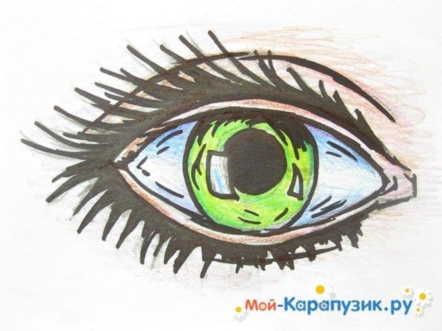 Поэтапное рисование глаза цветными карандашами - фото 10