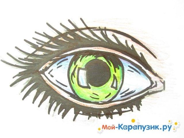 Поэтапное рисование глаза цветными карандашами - фото 11