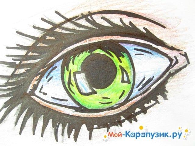 Поэтапное рисование глаза цветными карандашами - фото 12