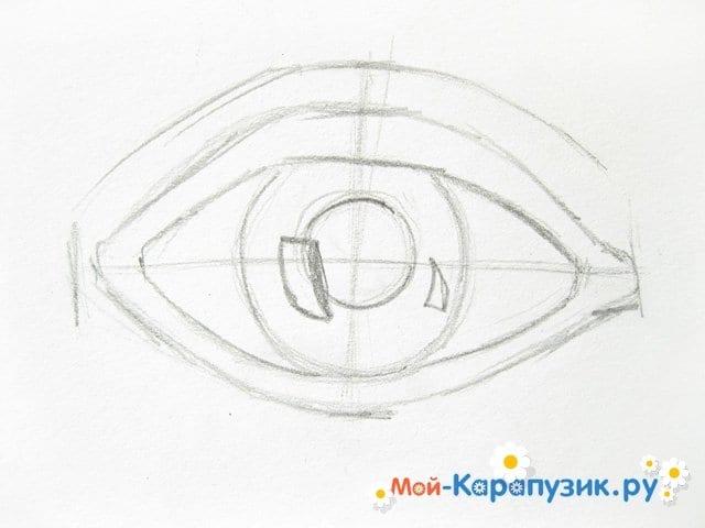 Поэтапное рисование глаза цветными карандашами - фото 4