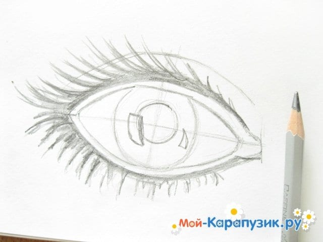 Поэтапное рисование глаза цветными карандашами - фото 5