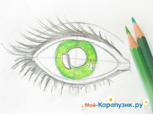 Поэтапное рисование глаза цветными карандашами - фото 6
