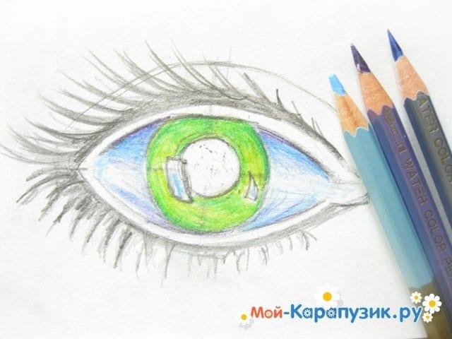 Поэтапное рисование глаза цветными карандашами - фото 7