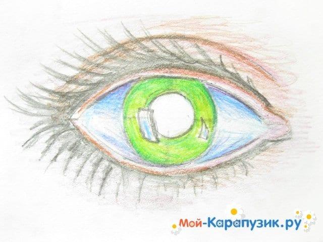 Поэтапное рисование глаза цветными карандашами - фото 8
