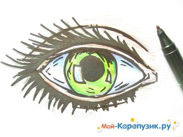 Поэтапное рисование глаза цветными карандашами - фото 9