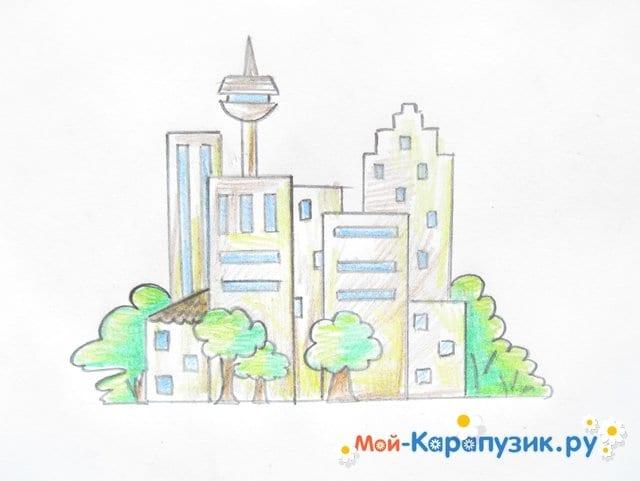 Поэтапное рисование города цветными карандашами - фото 12