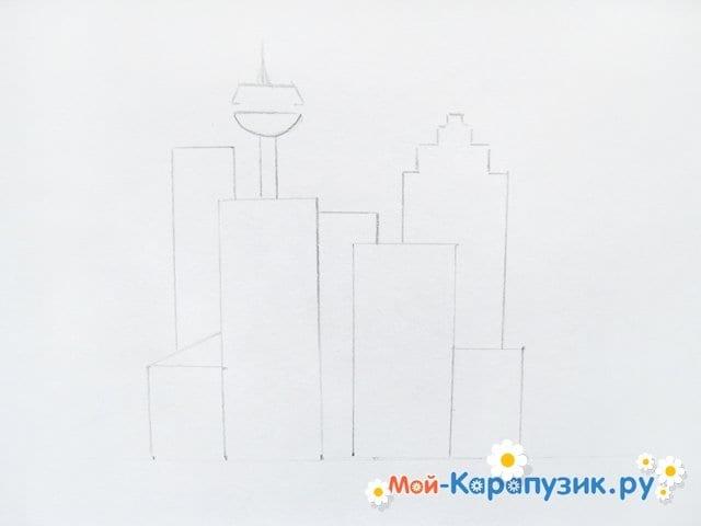 Поэтапное рисование города цветными карандашами - фото 5