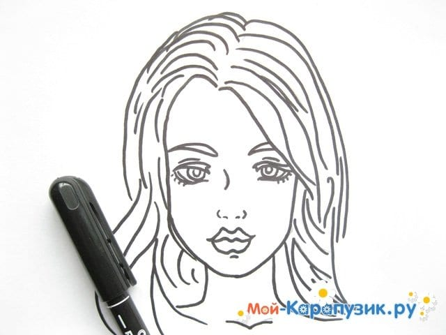 Поэтапное рисование лица девушки карандашами - фото 10