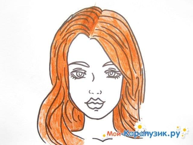 Поэтапное рисование лица девушки карандашами - фото 11