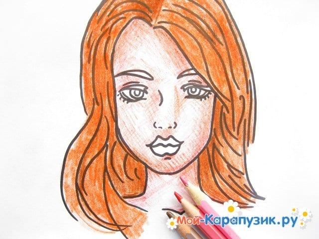 Поэтапное рисование лица девушки карандашами - фото 12