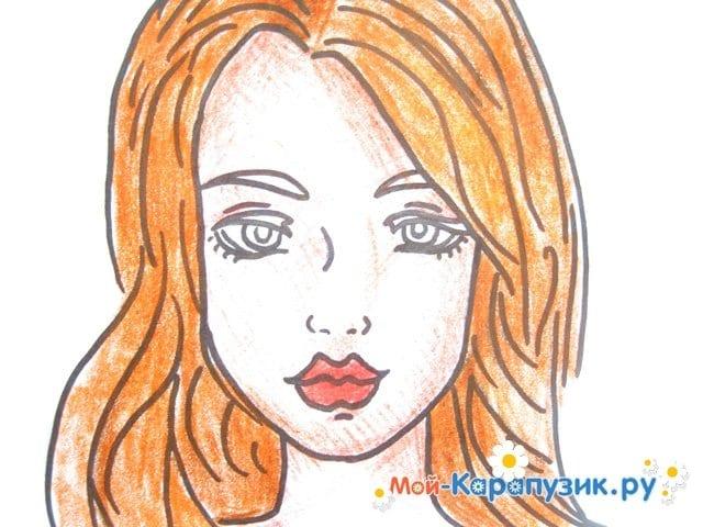 Поэтапное рисование лица девушки карандашами - фото 13