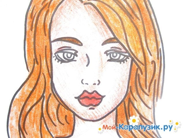 Поэтапное рисование лица девушки карандашами - фото 14