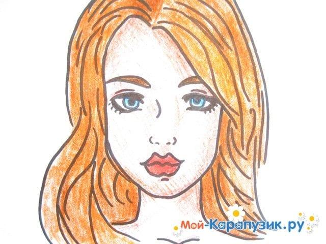 Поэтапное рисование лица девушки карандашами - фото 17
