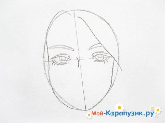 Поэтапное рисование лица девушки карандашами - фото 5
