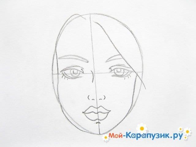 Поэтапное рисование лица девушки карандашами - фото 6