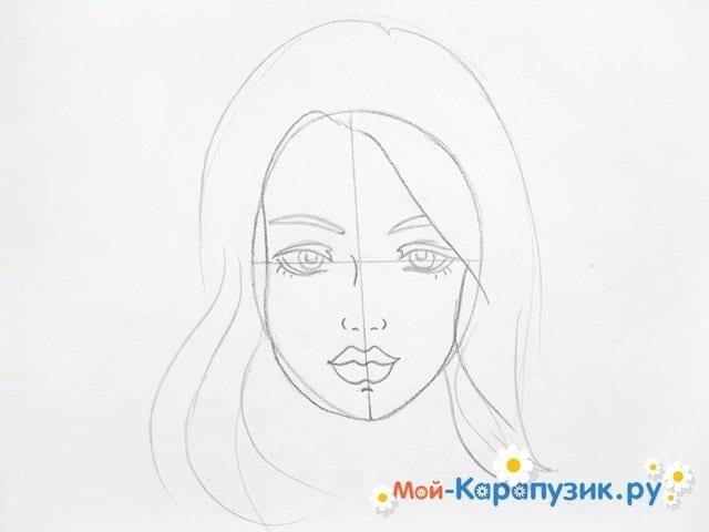 Поэтапное рисование лица девушки карандашами - фото 7