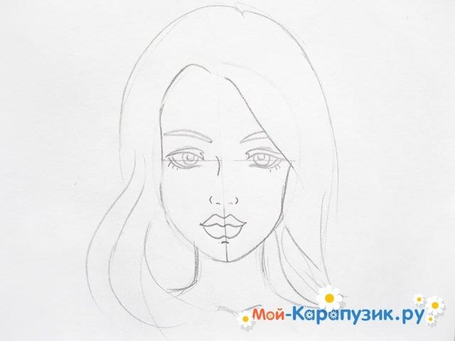Поэтапное рисование лица девушки карандашами - фото 8