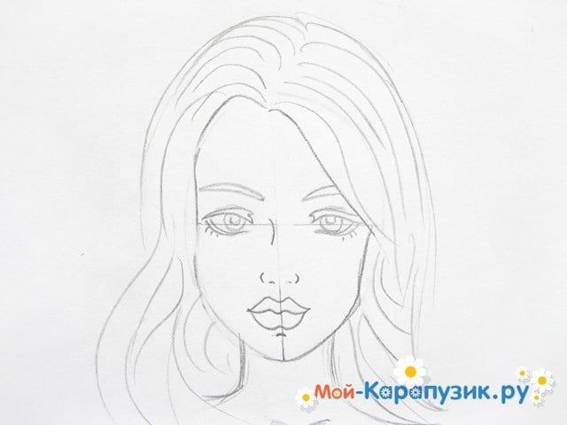Поэтапное рисование лица девушки карандашами - фото 9