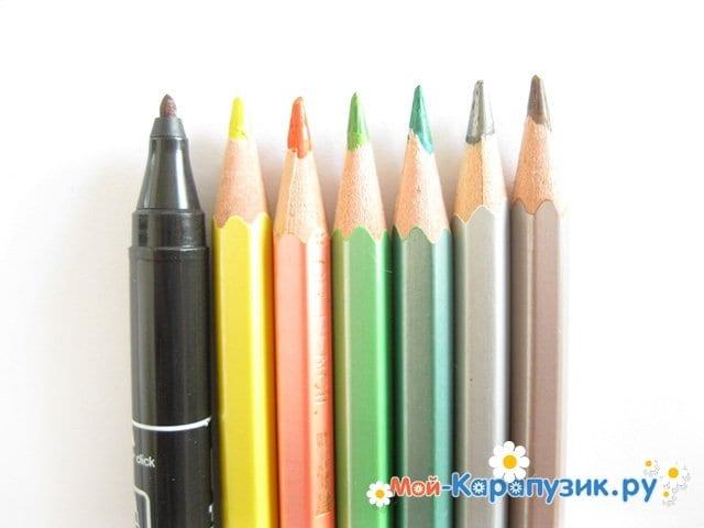 Поэтапное рисование листьев цветными карандашами - фото 1