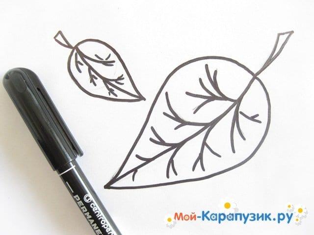 Поэтапное рисование листьев цветными карандашами - фото 8