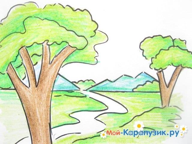 Поэтапное рисование природы цветными карандашами - фото 10
