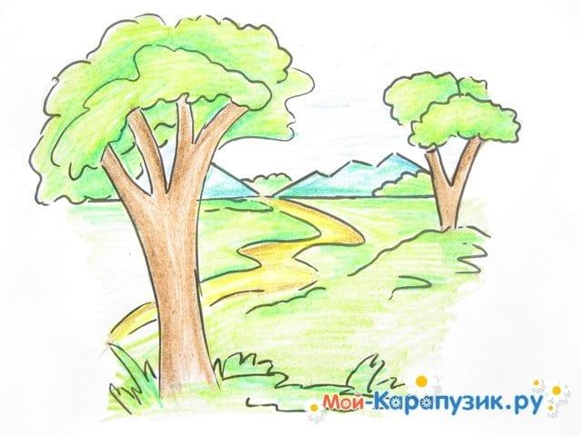 Поэтапное рисование природы цветными карандашами - фото 13