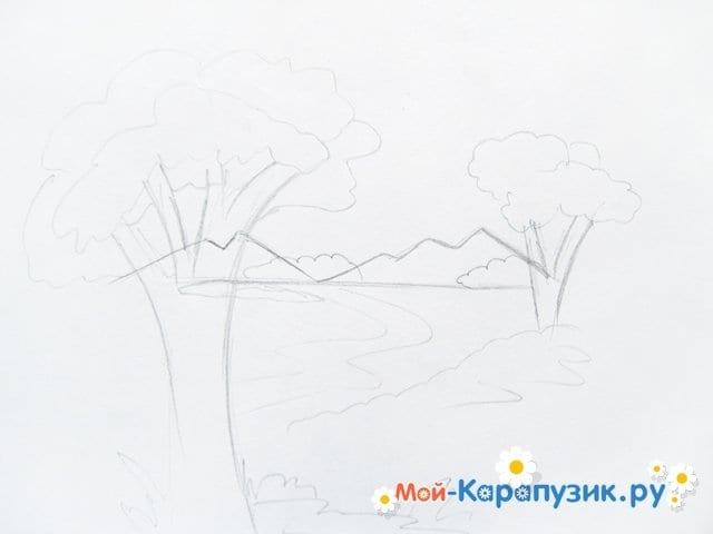 Поэтапное рисование природы цветными карандашами - фото 4