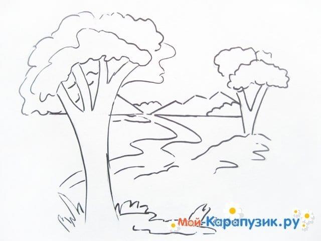Поэтапное рисование природы цветными карандашами - фото 5