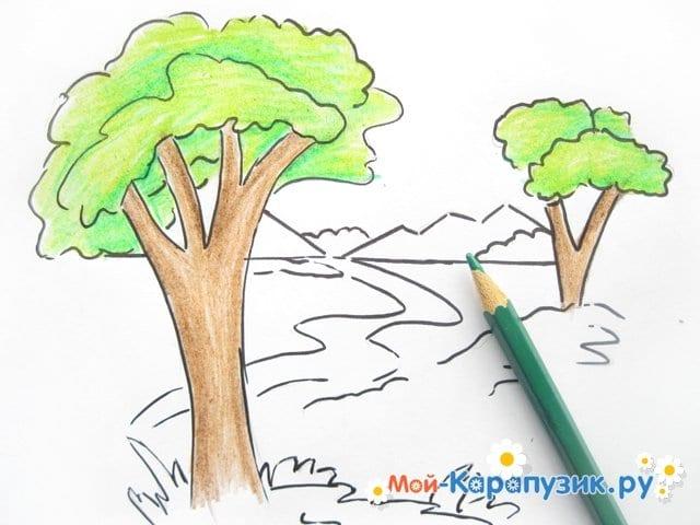 Поэтапное рисование природы цветными карандашами - фото 8