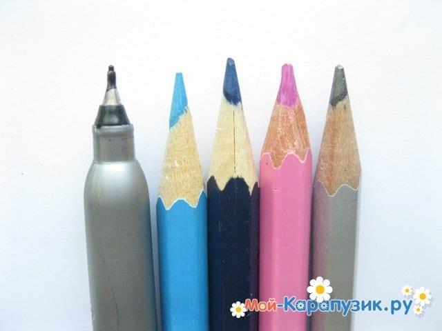 Поэтапное рисование Пятачка цветными карандашами - фото 1