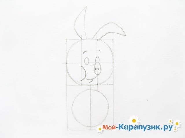 Поэтапное рисование Пятачка цветными карандашами - фото 11