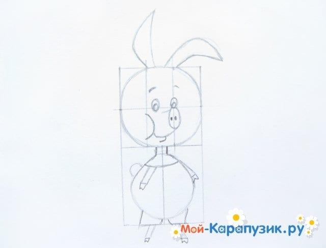 Поэтапное рисование Пятачка цветными карандашами - фото 14