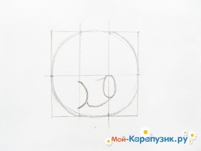 Поэтапное рисование Пятачка цветными карандашами - фото 7