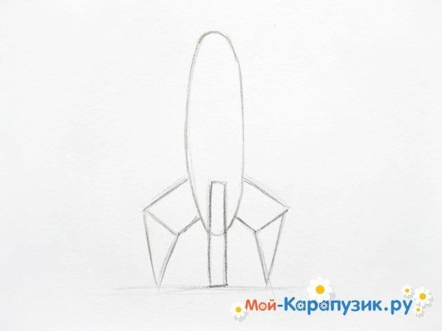 Поэтапное рисование космической ракеты цветными карандашами - фото 3