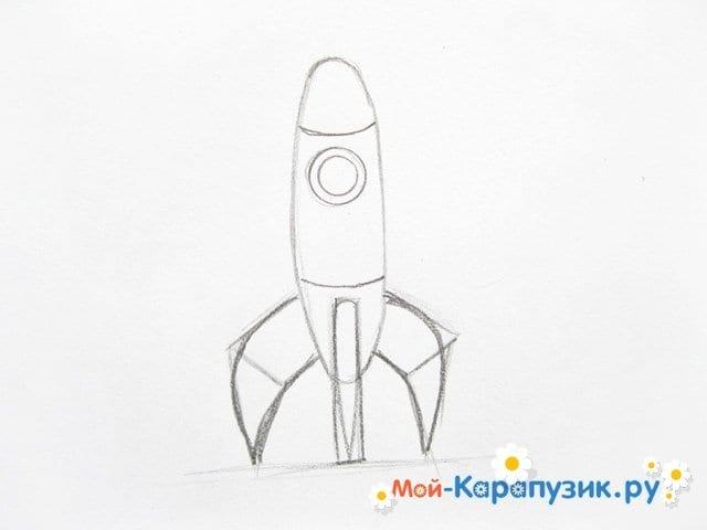 Поэтапное рисование космической ракеты цветными карандашами - фото 6
