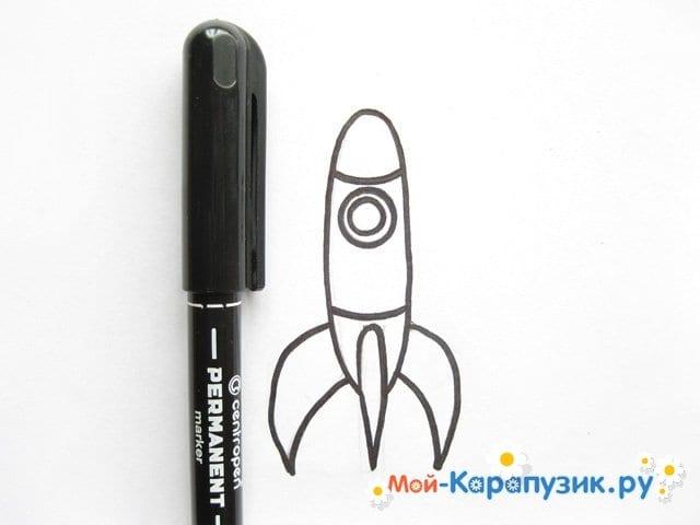 Поэтапное рисование космической ракеты цветными карандашами - фото 7