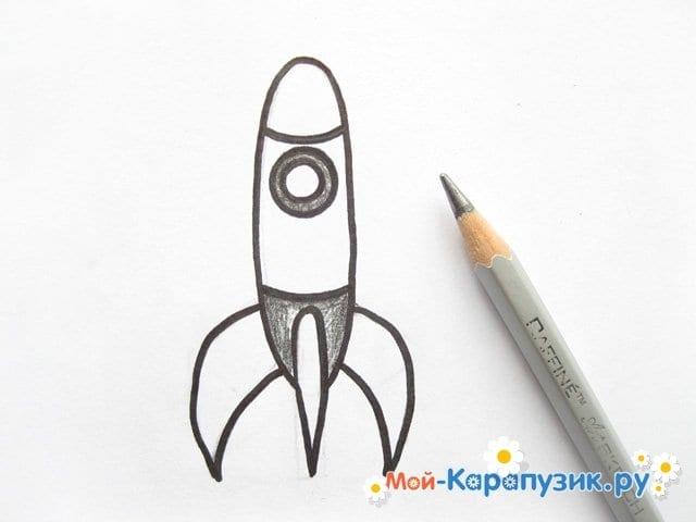 Поэтапное рисование космической ракеты цветными карандашами - фото 8