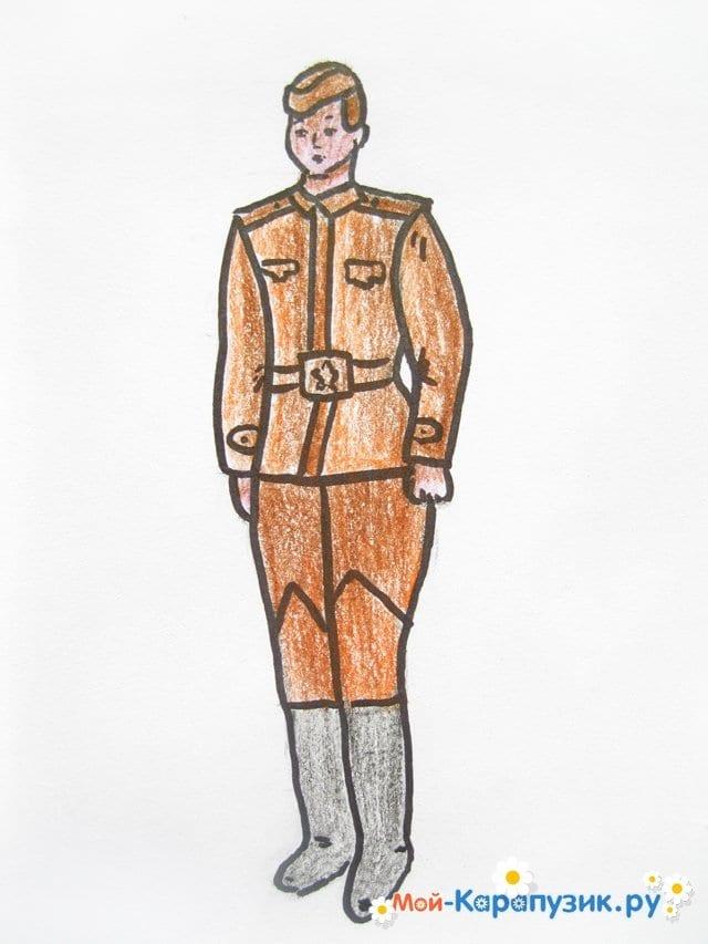 Поэтапное рисование солдата цветными карандашами - фото 15