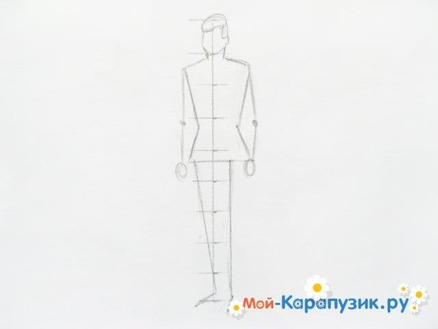 Поэтапное рисование солдата цветными карандашами - фото 5
