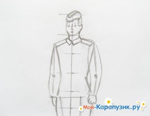 Поэтапное рисование солдата цветными карандашами - фото 8