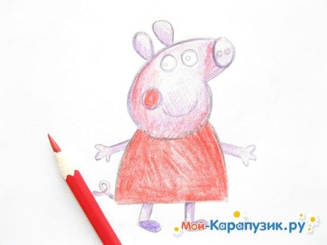 Поэтапное рисование свинки Пеппы цветными карандашами - фото 10