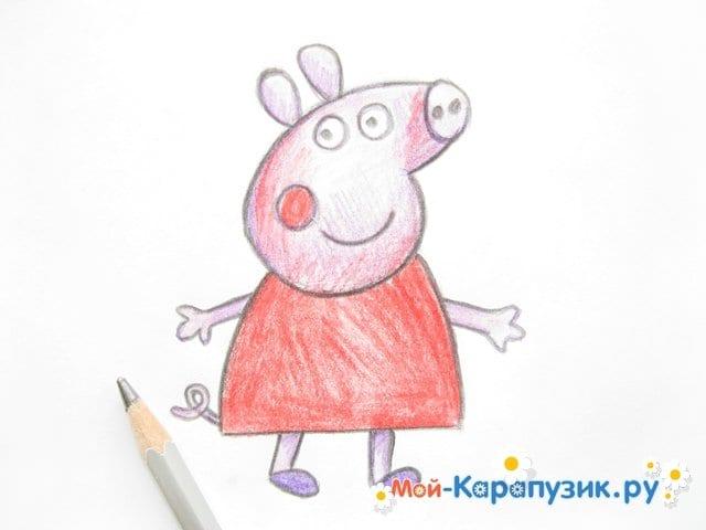 Поэтапное рисование свинки Пеппы цветными карандашами - фото 11