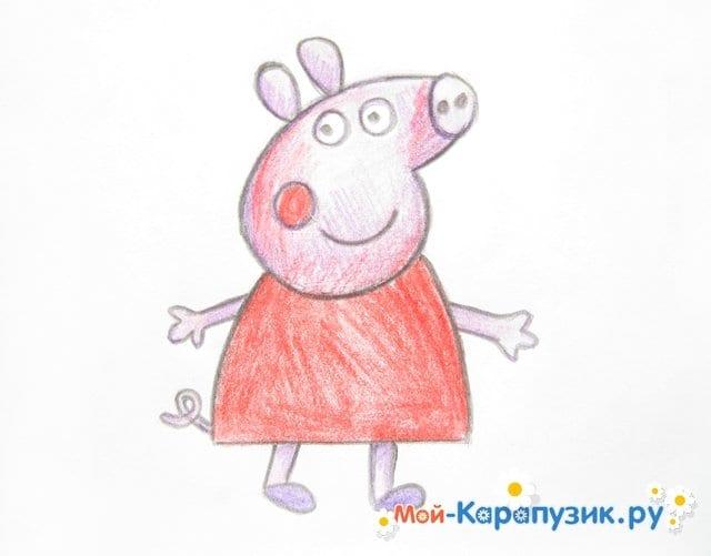 Поэтапное рисование свинки Пеппы цветными карандашами - фото 12