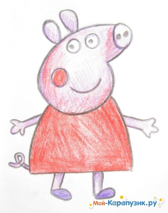 Поэтапное рисование свинки Пеппы цветными карандашами - фото 13
